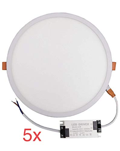 Pack 5x Panel LED redondo plano