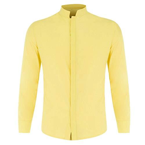 Salalook Business overhemden met lange mouwen voor heren, blouse met pure kraag, comfortabele pasvorm, effen, overhemden met knoopsluiting, slim fit