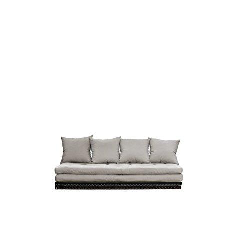 Karup Design Chico Schlafsofa 3 sitzer Futon Schlafcouch Im Natur Holz Sofa Mit Schlaffunktion und Beige Matratze 140x200. 2-Sitzer Bettsofa entworfen in Dänemark, Vision, 35 x 200 x 80 cm