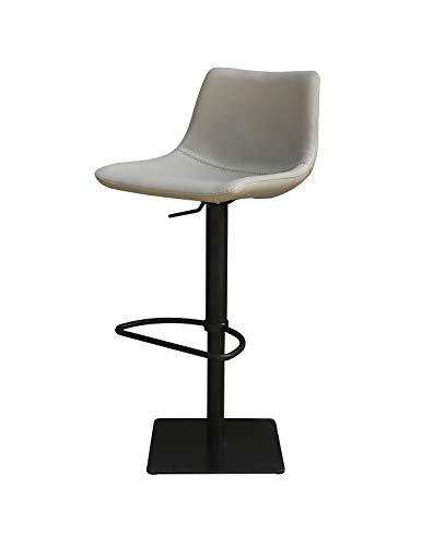 Meubletmoi barkruk van lichtgrijs kunstleer – onderstel verstelbaar zwart mat – Premium Collection & modern design – Boreal
