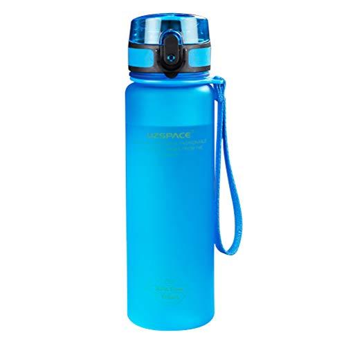 LIOOBO Plastikwasserflasche 500ML Sport Trinkflaschen Portable Outdoor Travel Radfahren Flasche (blau)
