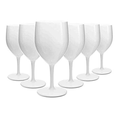 RB Calici da Vino Bianca Plastica Premium Infrangibile Riutilizzabile 25cl, Set di 6