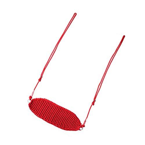 YARNOW Asiento de Columpio para Niños Columpio de Cuerda Ajustable para Tejer a Mano para Interior Exterior Árbol Patio Trasero Patio de Recreo (Rojo)