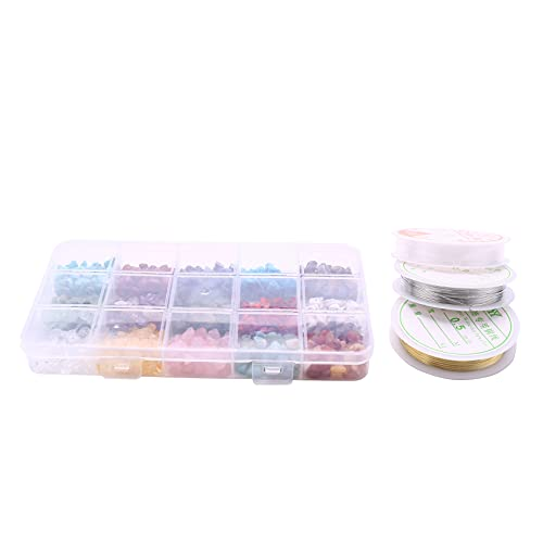 Kaxofang Kit de Cuentas de Piedra Irregulares de Chips de Cristal Natural con Alambre de Metal y Cuerda Elástica para Manualidades de Fabricación de Joyas