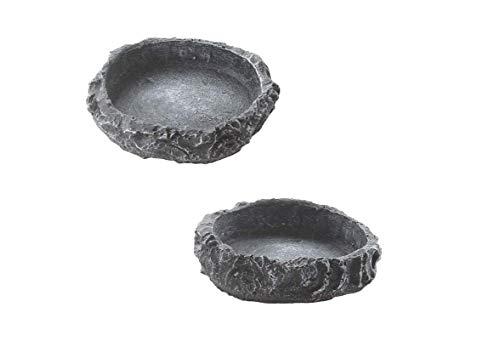 YUIP Food Bowl Rocks Reptilienwasserschale 2 Reptilien Wasserschale Food Bowl Rocks Wird für Leoparden-Gecko-Eidechsen-Spinnen-Skorpion-Chamäleons Verwendet