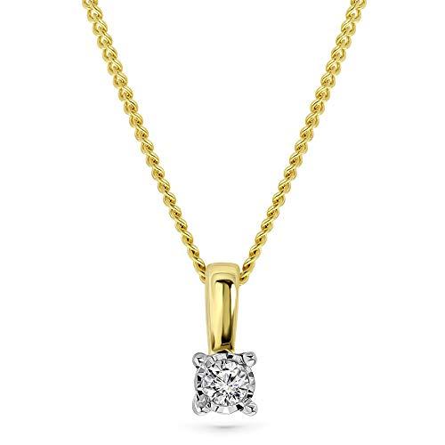 Miore Kette Damen 0.03 Ct Diamant Halskette mit Anhänger Solitär Diamant Brillant Kette aus Gelbgold 9 Karat / 375 Gold, Halsschmuck 45 cm lang