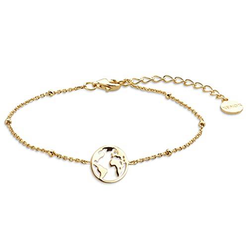 Xenox XS2282G - Pulsera de plata de ley 925 para mujer con colgante del mundo en color dorado