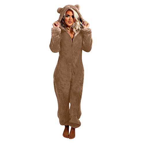 KEERADS Damen Mono de forro polar con capucha y cremallera, mullido, cálido, pijama para adultos con capucha, manta con capucha, ropa de dormir para mujer caqui M