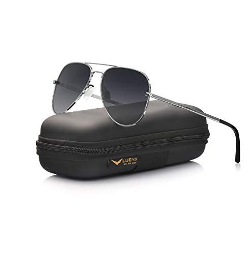 LUENX Aviator Sunglasses for Mens Womens Polarized Gradient Black Lens Metal Silver Frame 60mm