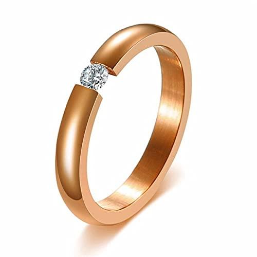 SHILIU Moda brillante 585 oro rosa tono anillos de compromiso para parejas acero inoxidable con piedra CZ hombres mujeres anillos de boda