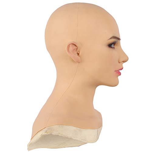 Soft Silicone Realistic Female Head Mask Handmade Face for Crossdresser Transgender Halloween Costumes (Tan)