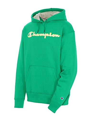 Champion Men's Powerblend Applique Hoodie, Green Myth, Small