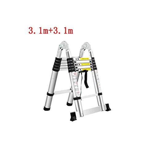 QARYYQ Teleskopleiter Haushalt Bambus Innenklapp Multifunktions Herringbone gerade zweizeilige Leiter Verdickung Aluminiumlegierung Tritthocker (Size : 3.1m+3.1m)
