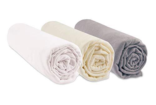 Easy dort Lot de 3 draps Housses Coton Bio - 70x160 - Noisette Blanc écru