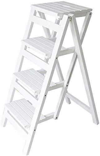 NYDZDM opvouwbare trapladder met 4 treden, barkruk, draagbare huiselijke trapkruk, eetstoel, houten trapkrukje voor kinderen en volwassenen, tuiniergereedschap, zwaar werk, max wit