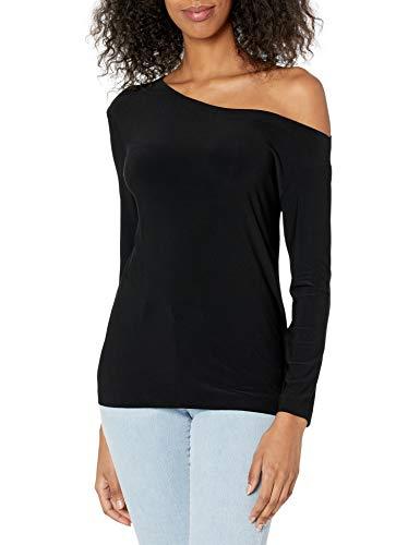 Norma Kamali Damen Long Sleeve Drop Shoulder TOP Hemd, schwarz, X-Klein