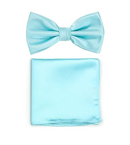 Puccini PUCCINI Uni Fliegen Set mit Einstecktuch, einfarbiges Set mit Herrenfliege (Fliege, Bow Tie) und Einstecktuch für Hochzeit & festliche Anlässe (Mintblau)