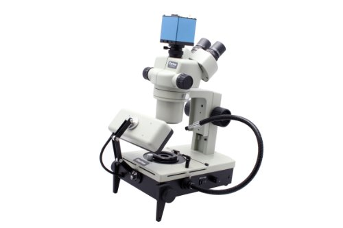 Aven 26800B-387 DSZV-44 Digital Trinocular Gemscope Microscope, 10x Eyepieces, 10x-44x Magnification, 1.0x-4.4x Zoom Objective, Lower and Front Illumination, 110V-220V, 50Hz/60Hz, with 1080P HD Camera