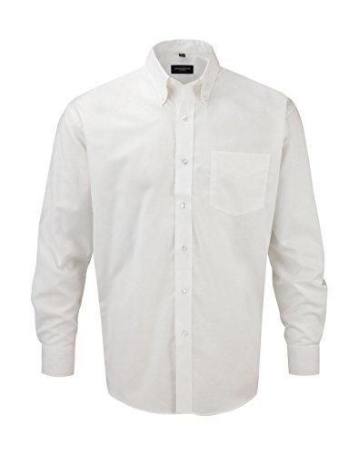 Russell Collection Hemd, Oxford, langarm, Große Größe, weiß - Blanc - Blanc - Größe: XXXXL