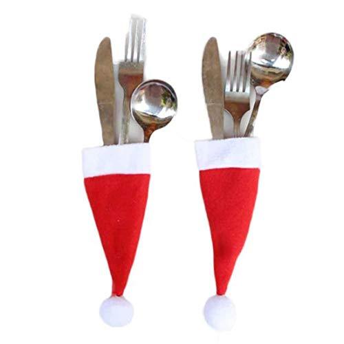 LMMVP Vaisselle Décorative de Noël, Noël Vaisselle Décorative Couteau à Fourchette Outil de Stockage de Chapeau de Noël (Rouge, 12 * 6cm)