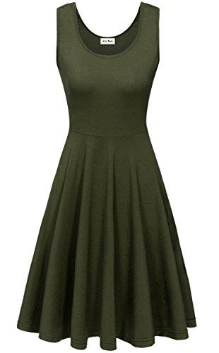 KorMei Damen Ärmelloses Beiläufiges Strandkleid Sommerkleid Tank Kleid Ausgestelltes Trägerkleid Knielang Grün M