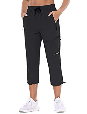 BALEAF Women's Hiking Cargo Pants Outdoor Lightweight Capris Water Resistant UPF 50 Zipper Pockets Black Size XL