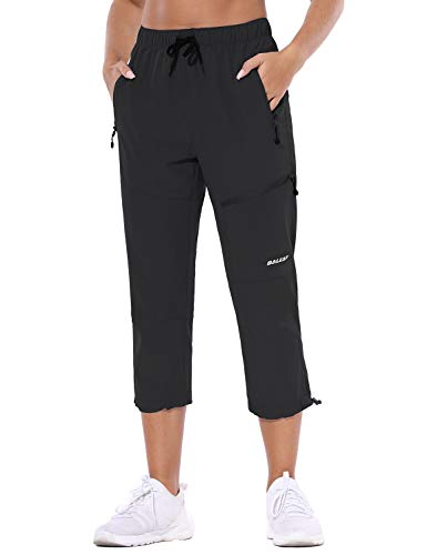 BALEAF Women's Hiking Cargo Capris Outdoor Lightweight Water Resistant Pants UPF 50 Zipper Pockets Black Size XL