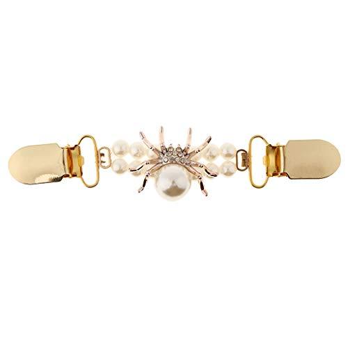Retro Strass Ente Mund Clip Cardigan Clips Schnalle Metallclip für Schal Strickjacke Pullover Hemd, in Unterschiedlichen Designs - Spinne