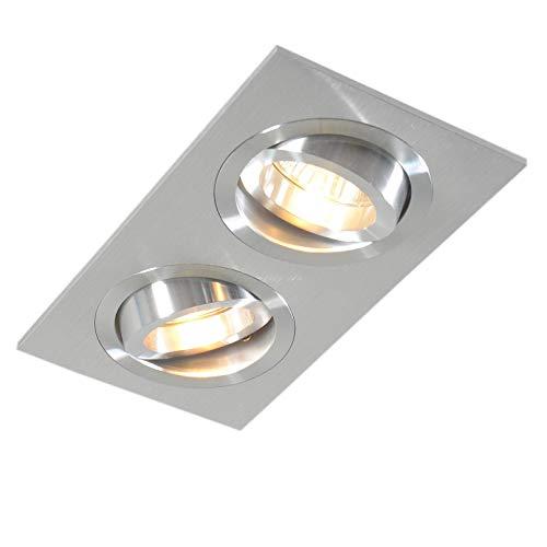 QAZQA Design/Modern Einbauspot Aluminium/Silver kippbar - Lock 2 / Innenbeleuchtung/Wohnzimmerlampe/Schlafzimmer/Küche Rechteckig LED geeignet GU10 Max. 2 x 50 Watt