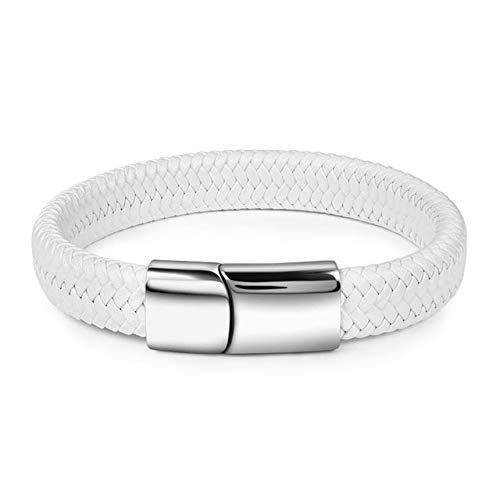 DASHUAIGE Armband Geflochtenes Herrenarmband Weißes Lederarmband Titan Stahlverschluss Männerschmuck Silber/Gold/Roségold Schnalle