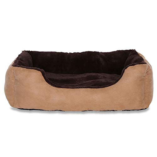 dibea Hundebett Hundekissen Hundekörbchen mit Wendekissen Größe M Farbe braun/beige