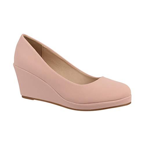 Elara Zapato de Tacón Alto Mujer Cuña Plataforma Chunkyrayan Desnudo B8011-PM-Nude-38