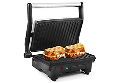 Elite Cuisine EPN-2976 Electric Panini Press & Contact Grill, Gourmet Sandwich Maker, Opens Flat 180-Degree Indoor Grill with Floating Hinge, 1000W, Stainless Steel