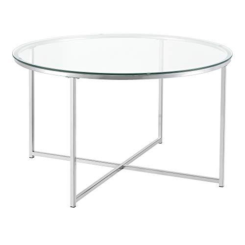 [en.casa] Couchtisch Askola Glas-Tischplatte Stahlgestell 80 x 48 cm Beistelltisch Wohnzimmertisch Kaffeetisch Silber