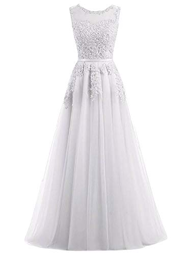 Romantic-Fashion Damen Ballkleid Abendkleid Brautkleid Lang Modell E010-E015 Blütenapplikationen Tüll DE Weiß Größe 42