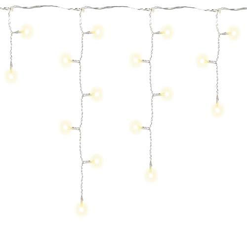 Nipach GmbH 144 LED Lichterkette Eisregen Eiszapfen warm weiß Außen Weihnachtsbeleuchtung Xmas transparentes Kabel Gesamtlänge 15 m Zuleitung 10 m mit Netzteil Trafo IP44