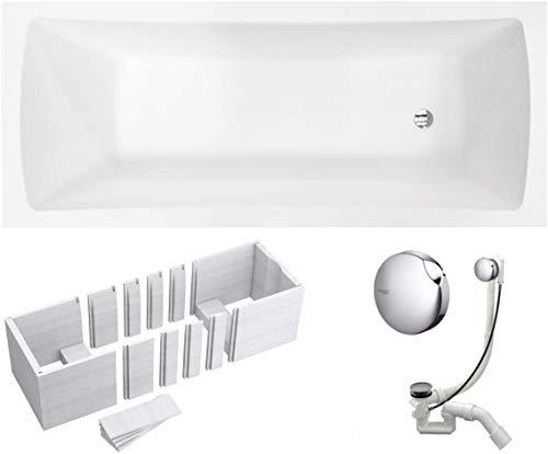 VBChome Badewanne 150x70 cm Acryl SET Wannenträger Siphon Wanne Rechteck Weiß Design Modern Styroporträger Ablaufgarnitur in Chrom Viega Simplex (150x70 cm)