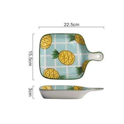 Cartoon Keramik Auflaufform Ofen mit Griffplatte nach Hause kreativ Backen gebackenen Reis Teller Geschirr Frühstück Teller (Ananas Teller)