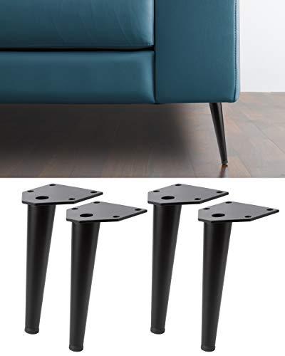 IPEA 4X Piedi per Divani e Mobili Modello Swing Black – Set di 4 Gambe in Ferro – Piedini dal Design Elegante Colore Nero, Altezza 150 mm