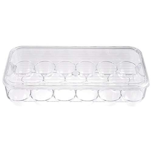 Hemoton Caja de huevos de plástico para nevera, cocina, restaurante, bandeja de huevos para congelador, organizador con tapa para nevera, cocina, restaurante