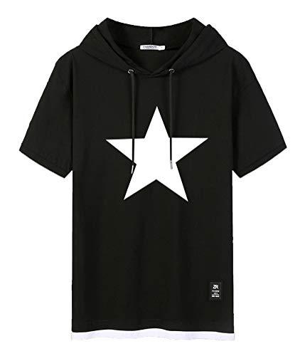 WANHONGYUE Anime Black Rock Shooter Sweat-Shirt à Capuche Manche Courte T-Shirt Homme Hip Hop Hoodie Pullover Tee Tops Black-3-XL