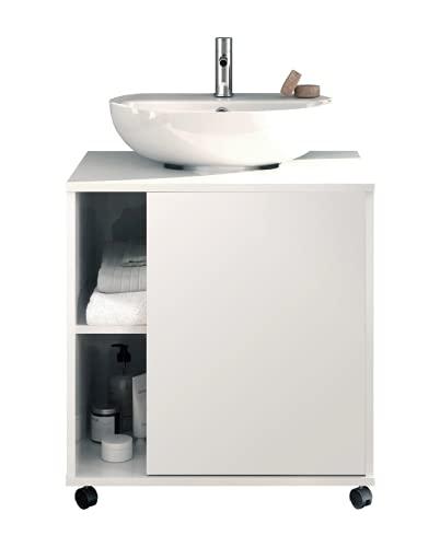 Mueble de baño Sintra Color Blanco Brillo 1 Puerta Aseo Lavabo Pedestal Estilo Moderno Mueble 64x59x45 cm
