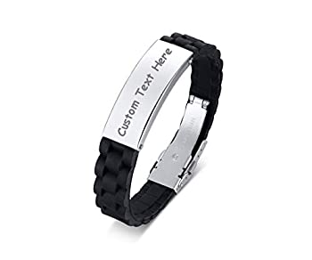 Personalized Custom Black Cool Silicone Watch Band Outdoor Sport ID Wristband Bracelets Bangle for Men,Adjustable Silver