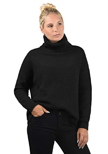 VERO MODA Rola Damen Rollkragenpullover Rolli Strickpullover Mit Rollkragen Oversized, Größe:L, Farbe:Black