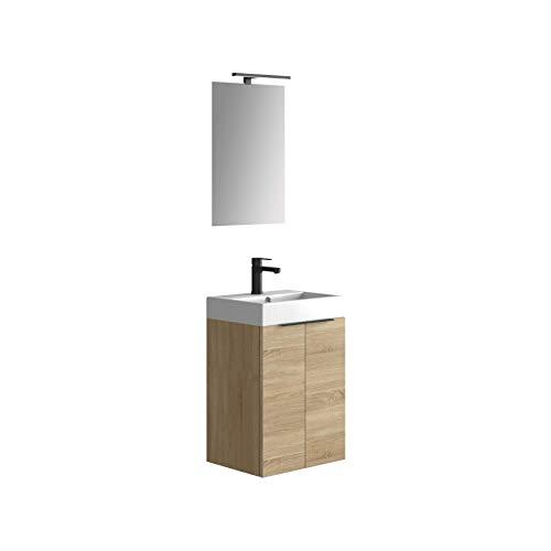 Baikal 280034091, Mueble de baño pequeño con Lavabo cerámico y Espejo con Aplique de luz LED, de Dos Puertas, Acabado en Color Bardolino, de fácil montado, Medidas: 45 x 60 x 36 cm