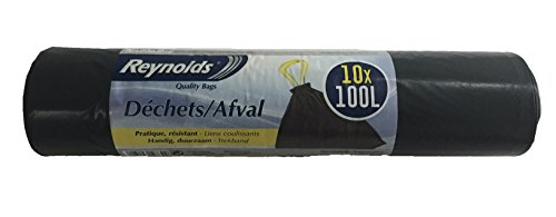 Reynolds Set de 10 Sacs Poubelles Déchets 100 L
