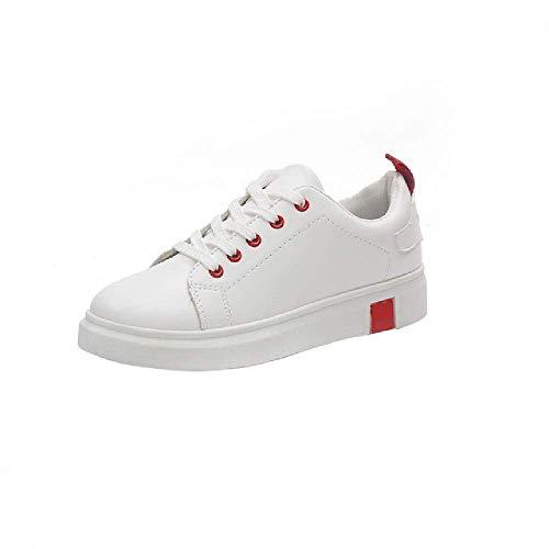 Zapatos de Mujer de Moda de Cuero Blanco Zapatilla de Deporte Femenina con Cordones Transpirable Comodidad Zapatillas Poco Profundas Zapatos Planos Ocasionales de Las señoras