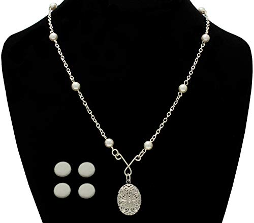 Brenda Elaine Jewelry Essential Oil Diffuser Necklace, Aromatherapy Locket, Silver Plated Chain, 18 Inch Silver Chain with White Pearls, 4 Replacement Pads Included