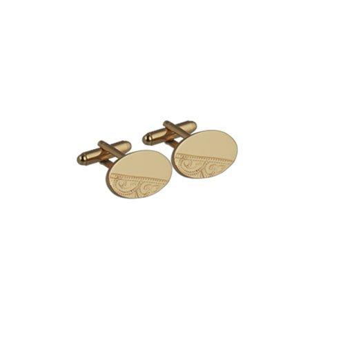 British Jewellery Workshops Boutons de Manchette plaqué Or Dur ovales 13x22mm pivotantes gravés à la Main