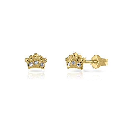 Pendientes Oro de Ley Certificado. Niña/Mujer. Corona con piedras. Cierre de presión. Medida 4.5x6 mm. (1-1199)